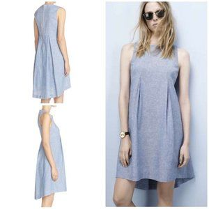 Donna Morgan Womens Size 2 Chambray Pleated Dress